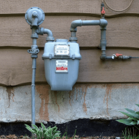 Gas meter on side of building