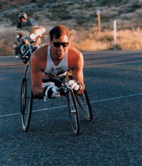 Curt Brinkman competing in wheelchair marathon