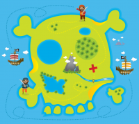 Illustration of two pirates on skull island with x marking treasure location
