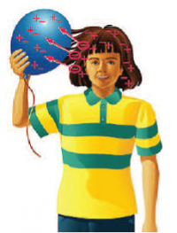 Illustration of child holding balloon against head demonstrating static electricity