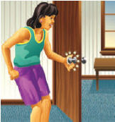 Illustration of child opening door and getting shocked